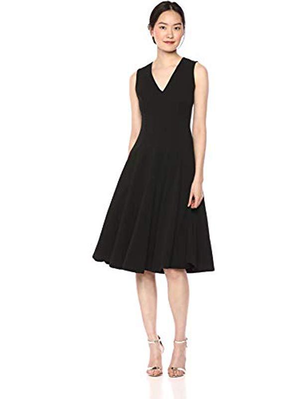 45ec9cb4b3c7f Lyst - Calvin Klein Sleeveless A Line Midi Dress With V Neckline in ...