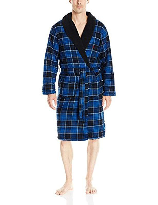 Lyst - Original Penguin Flannel   Fleece Robe in Blue for Men 49af88202