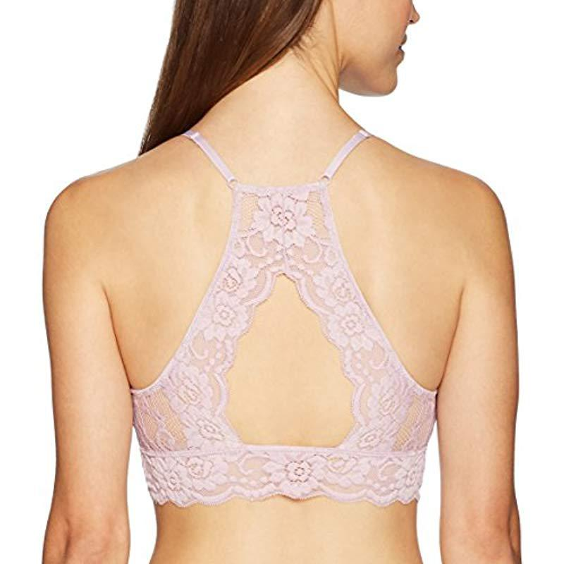 5815422485981 Mae - Pink Hi-neck Lace Bralette (for A-c Cups) - Lyst. View fullscreen