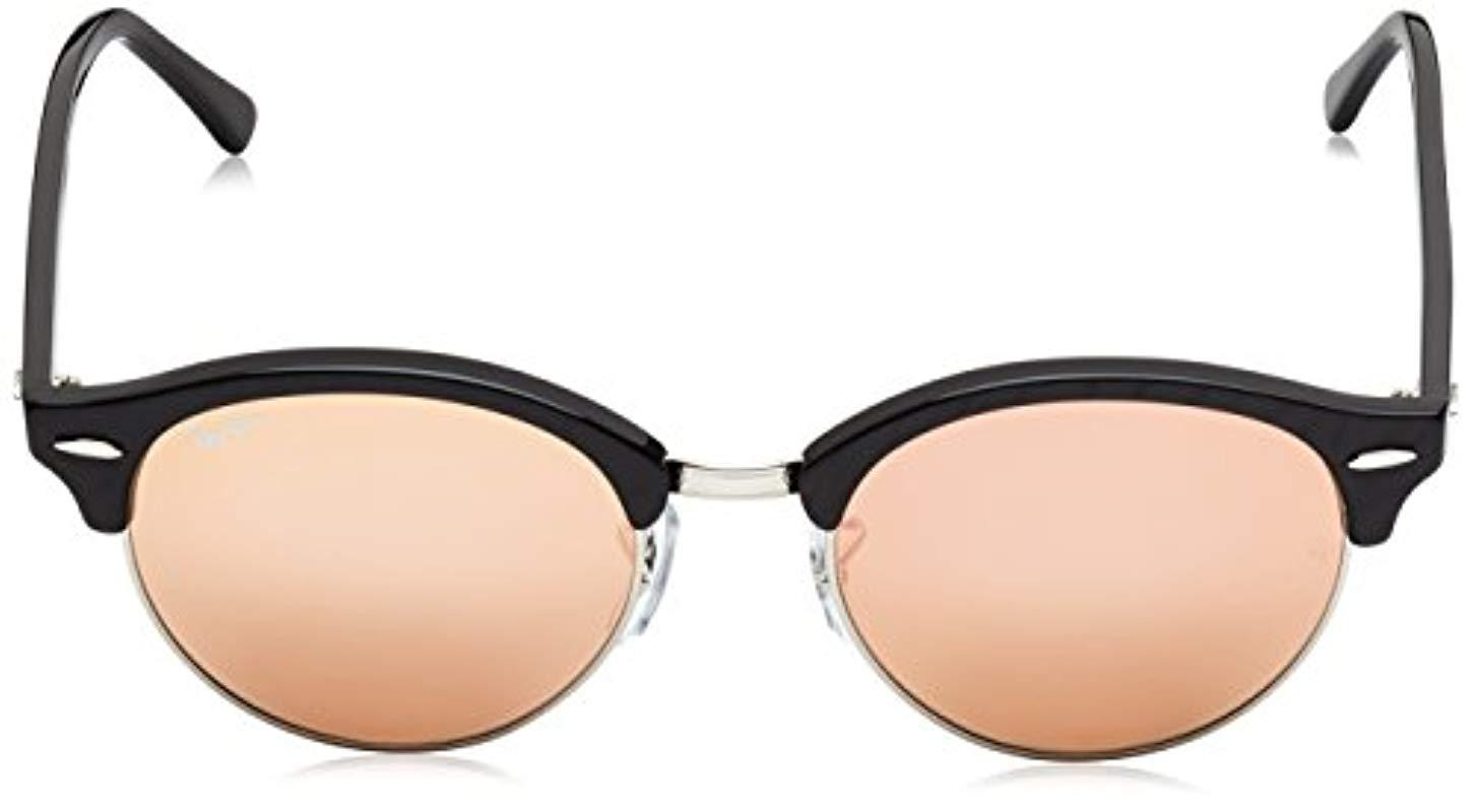 25607bb57f Ray-Ban - Clubround Rb4246 51 Non Polarized Sunglasses Top Wrinkled Black  Frame  Pink. View fullscreen