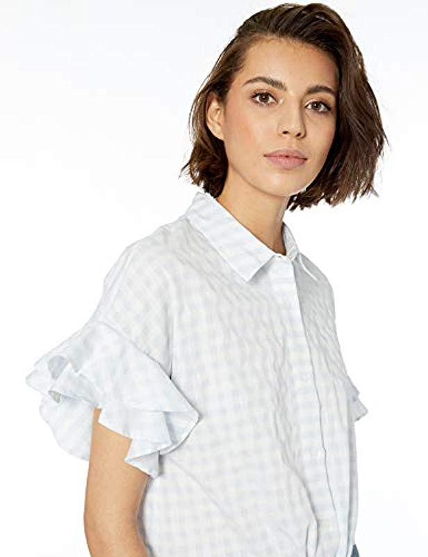 56a1a484 Lyst - Cupcakes And Cashmere Sunnie Gingham Blouse With Ruffle Sleeve Top  in Blue