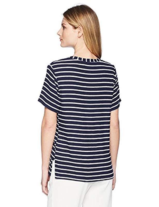 80f9198196c Lyst - Michael Stars Madison Brushed Stripe Short Sleeve V-neck With Side  Slits in Blue - Save 67%