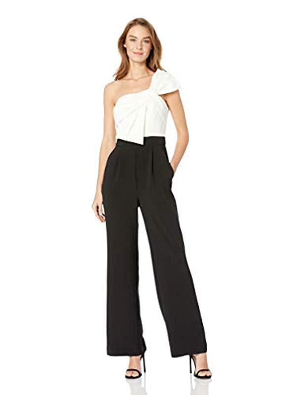 b14182aaa78 Lyst - Eliza J Sleeveless Shoulder Bow Jumpsuit in Black - Save 7%