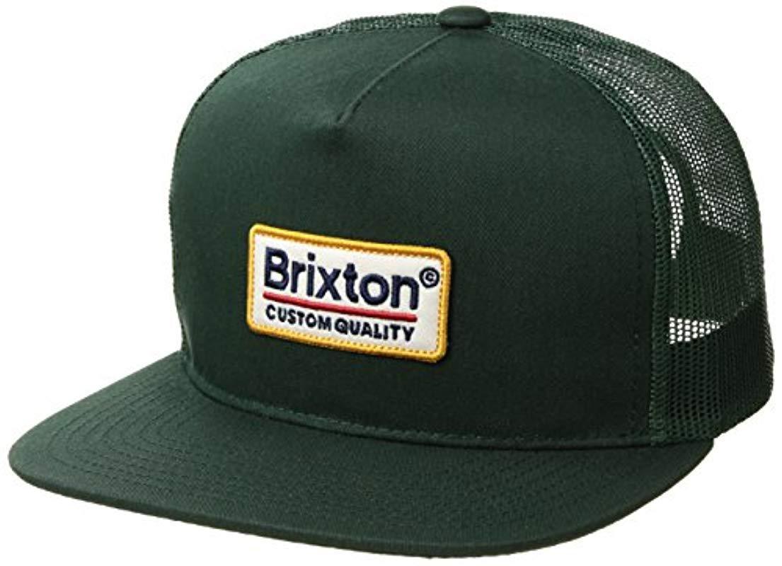 c862afd1 Brixton - Green Palmer Medium Profile Adjustable Mesh Hat for Men - Lyst.  View fullscreen