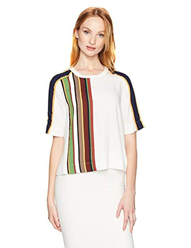 ae82842cdc083 Lyst - Bcbgmaxazria Aja Woven Striped Boxy Top in White
