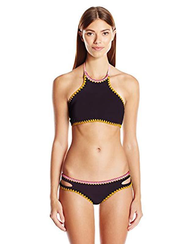 3298f9d0574b8 ... Whipstitch Reversible High Neck Halter Bikini Top - Lyst. View  fullscreen