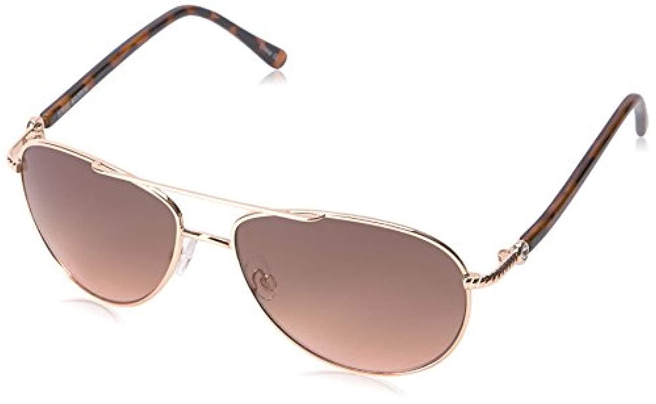e42b1845714a Lyst - Steve Madden Elissa Aviator S5187 Aviator Sunglasses in Brown