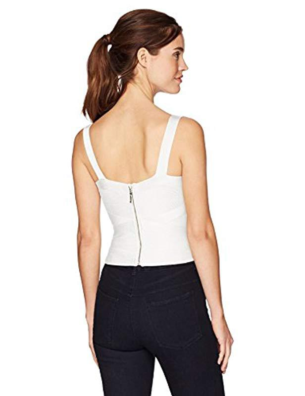 14f6d7bdb73 Lyst - Guess Sleeveless Cropped Mirage Crossover Top in White - Save 52%