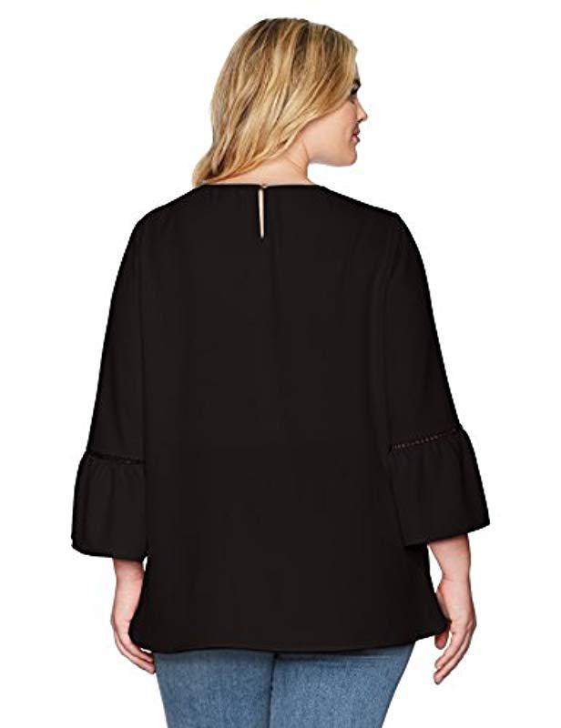 29284ef4776 Lyst - Calvin Klein Plus Size Bell Sleeve With Lace Detail in Black