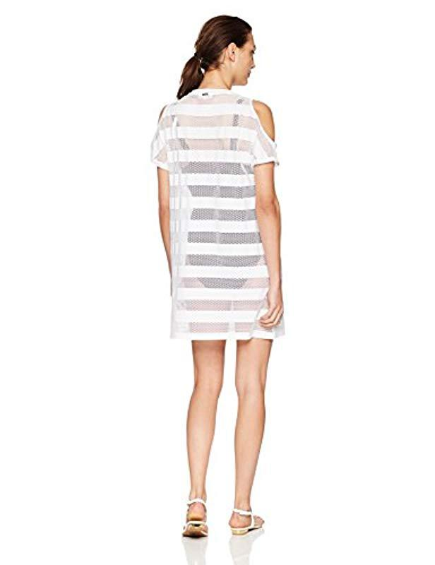 fc9a922b7a423 Lyst - Calvin Klein Cold Shoulder Swimsuit Cover Up Dress in White