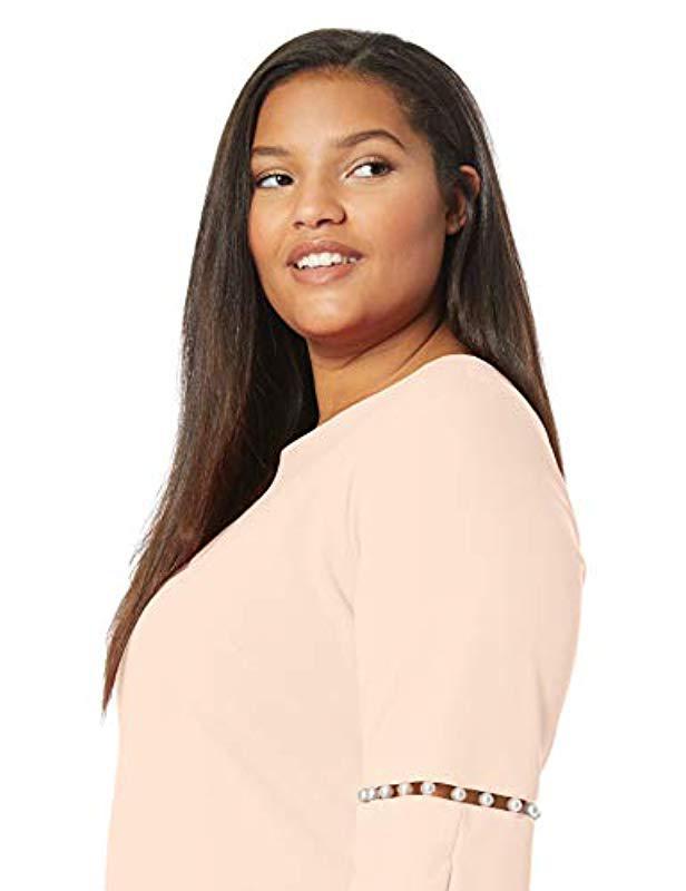 42333887 Lyst - Calvin Klein Plus Size Solid Sheath Detailed Split Sleeve Dress