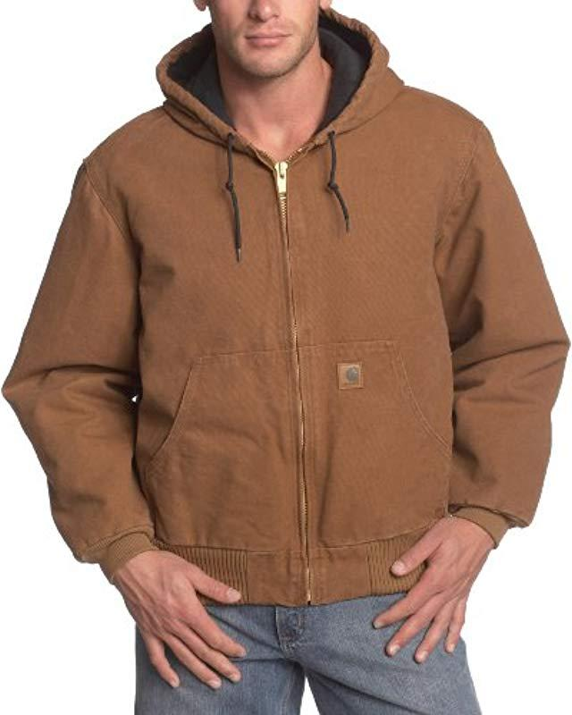 7c804cf3359 Carhartt. Men's Brown Big & Tall Quilted Flannel-lined Sandstone Active  Jacket J130