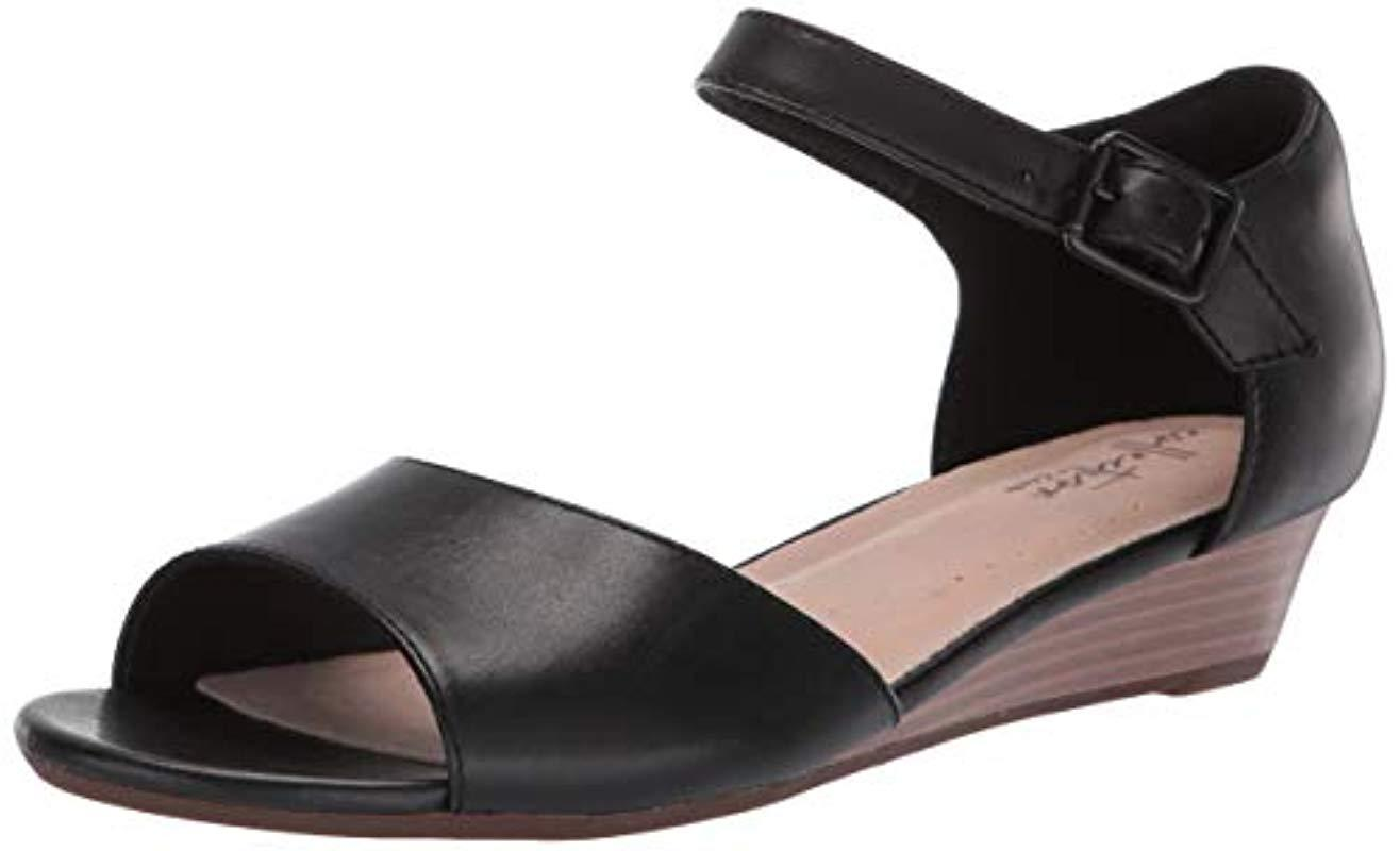 c750b15f91a Lyst - Clarks Abigail Jane (nude Leather) Women s Wedge Shoes in Black