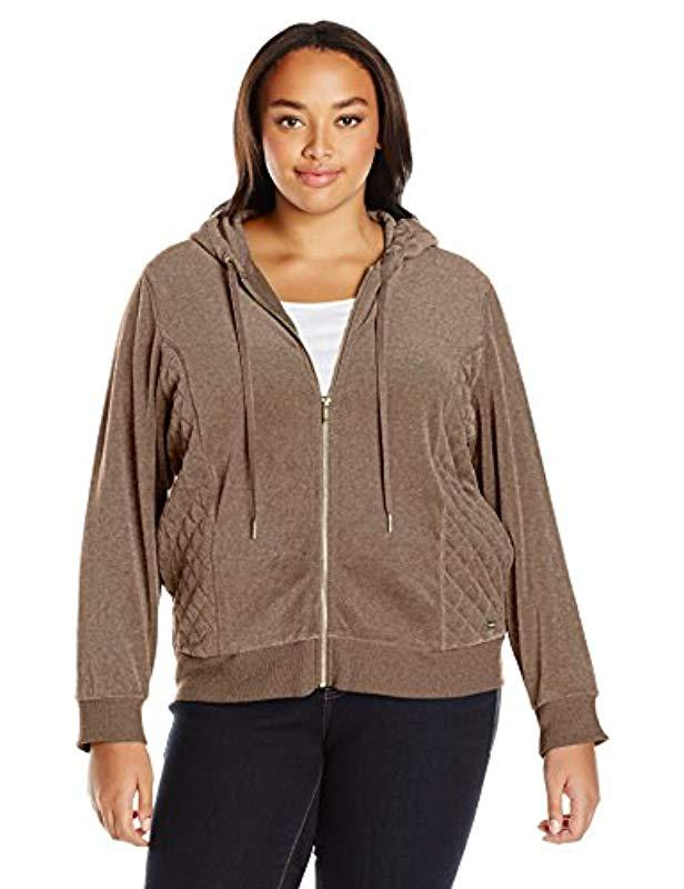 ad46adc54c0 Lyst - Calvin Klein Plus Size Hoodie With Quilted Side Panel in Brown
