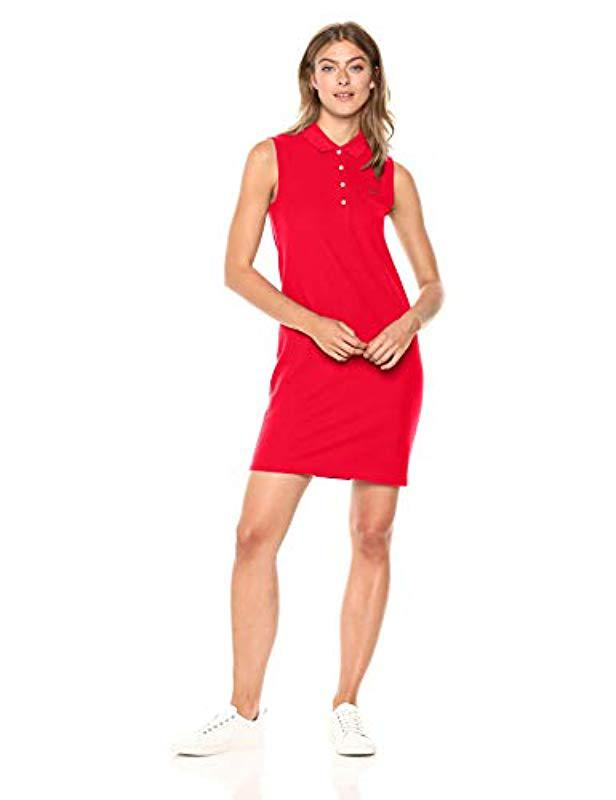 1901dc788fe25c Lacoste. Women s Red Sleeveless Classic Micro Pique Polo Dress ...