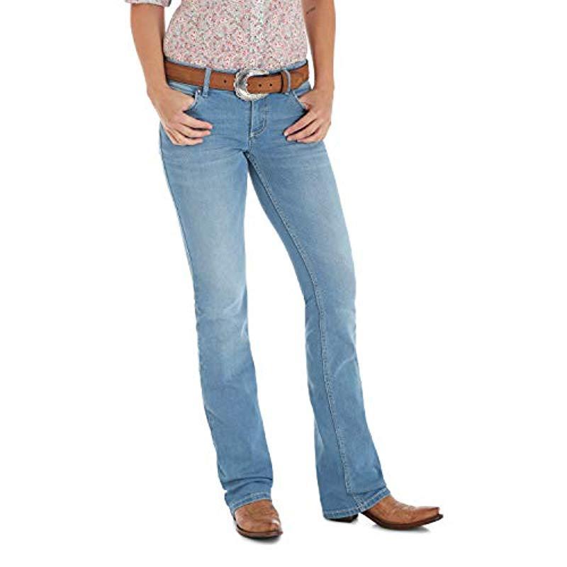 63ae5614 Lyst - Wrangler Retro Sadie Low Rise Stretch Boot Cut Jean in Blue
