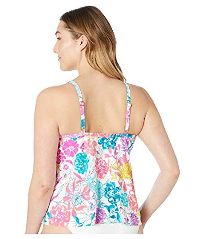 a17dbf41d2d Kenneth Cole Reaction - White Plus Size Triple Tier Tankini Swimsuit Top