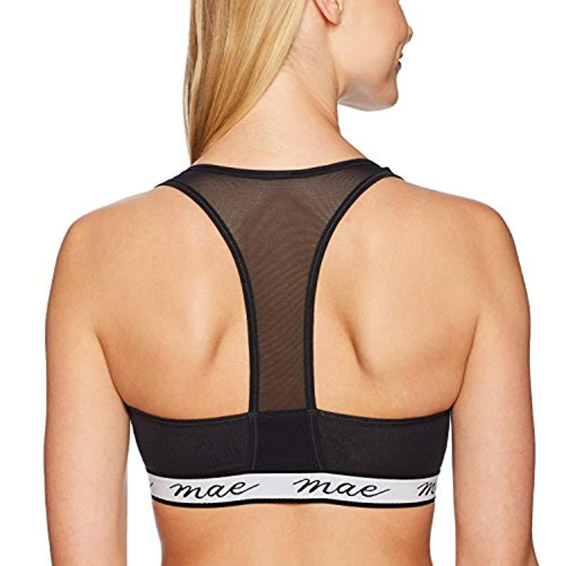 74e4907efd Mae - Black Cotton With Mesh Racerback And Logo Elastic Bralette (for A-c  Cups). View fullscreen
