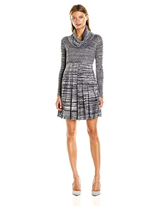 97575a0caf Calvin Klein. Women s Black Long-sleeve Cowl-neck Fit   Flare Sweater Dress