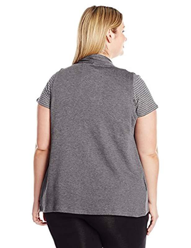6024023bfe9 Lyst - Calvin Klein Performance Plus Size Zip Shawl Collar Vest in Gray