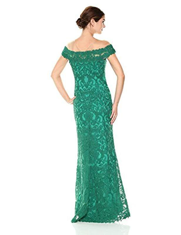 3256767693df Lyst - Tadashi Shoji Cap Sleeve Illusion Lace Gown in Green