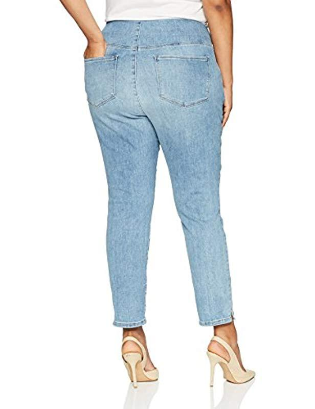 924aa25a7f666 Lyst - NYDJ Plus Size Pull On Skinny Ankle Jean With Side Slit in Blue -  Save 30%