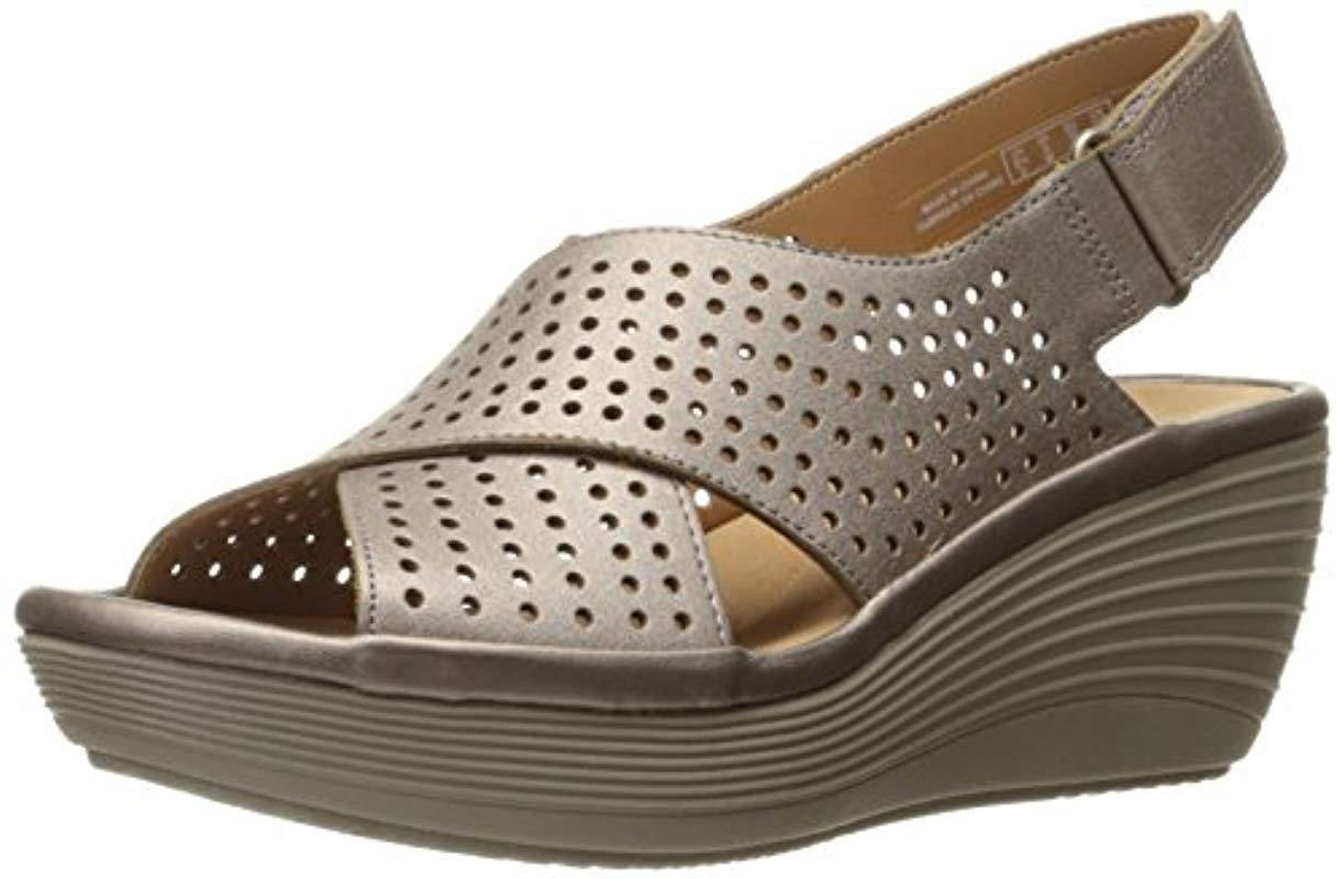 ad9f5d5d944 Lyst - Clarks Reedly Variel Wedge Sandal in Metallic - Save 53%
