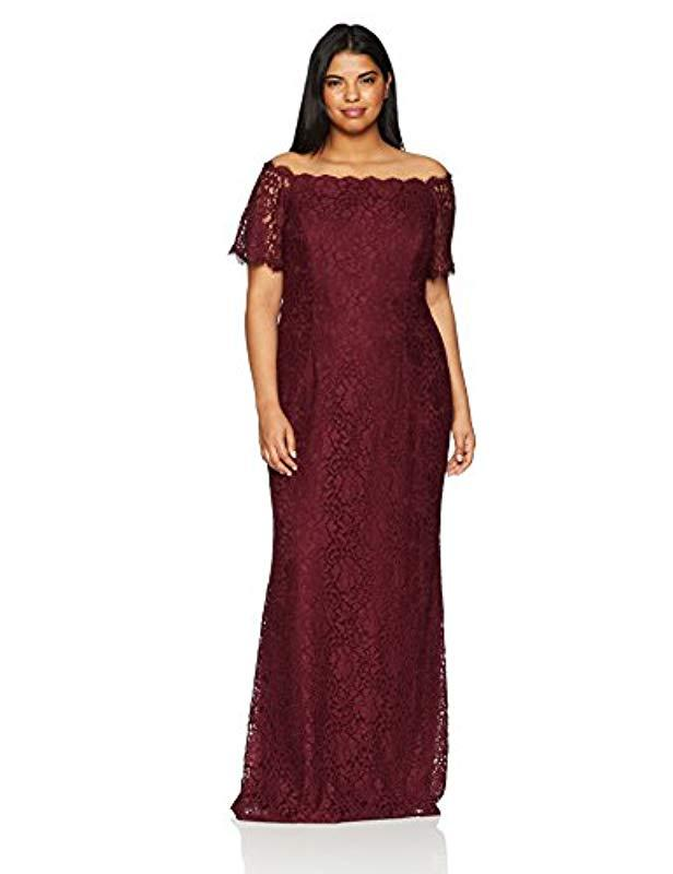 e4bc58ec6a6 Adrianna Papell. Women s Purple Plus Size Lace Off The Shoulder Mermaid Skirt  Long Dress.  239 From Amazon Prime