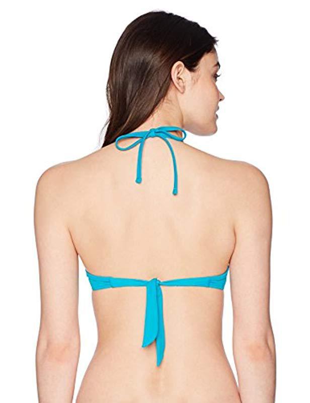 95f06d9043 Lyst - Guess Ruffle Trim Halter Bikini Top in Blue