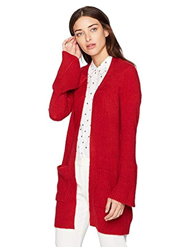 76084ef78cf Lyst - Kensie Warm Touch Open Cardigan With Bell Sleeve in Red - Save 2%