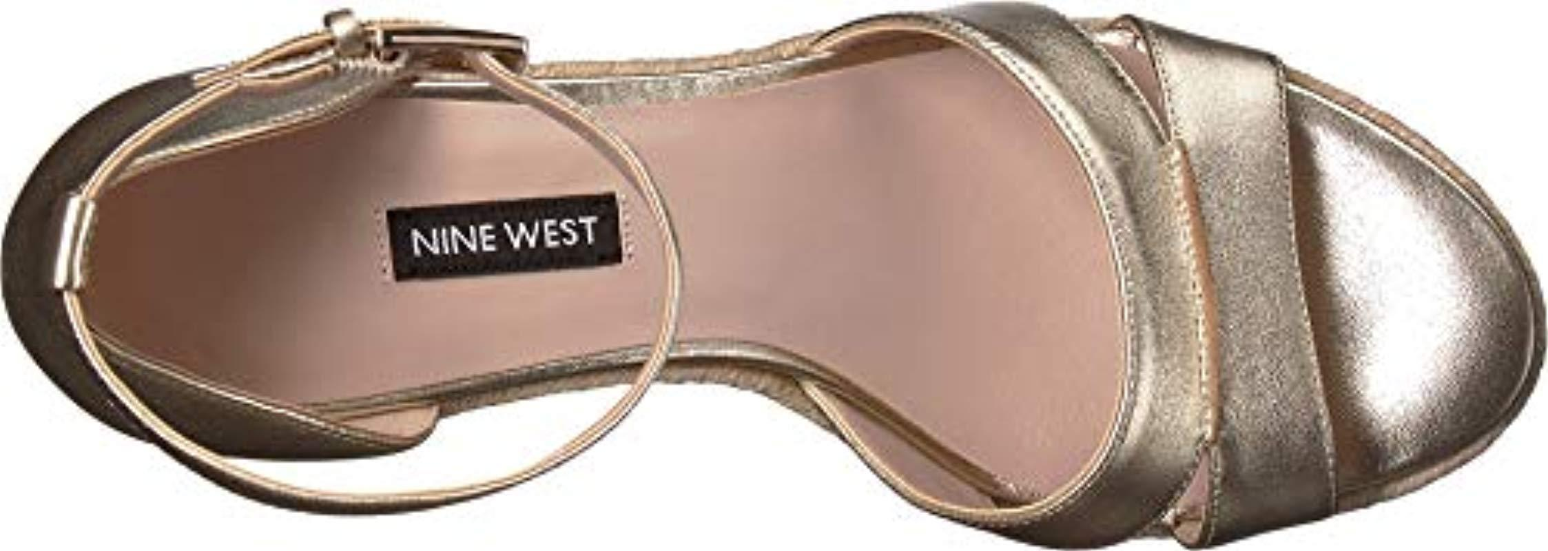 e4fc56afc10 Lyst - Nine West Jabrina Suede Wedge Sandal in Metallic