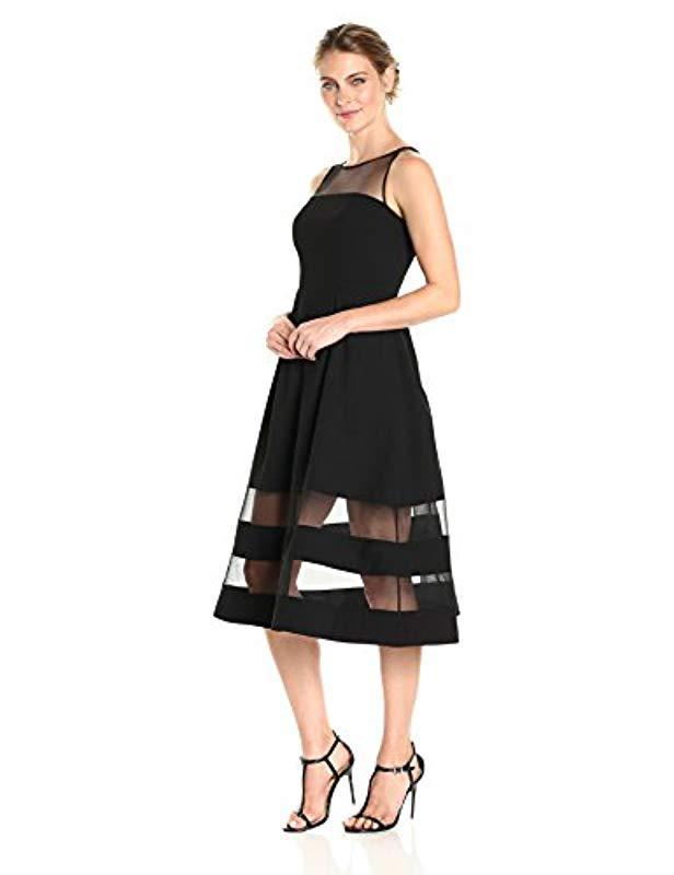 5a3bc79cbe273 Aidan By Aidan Mattox. Women s Black Crepe And Illusion Mesh Cocktail Dress