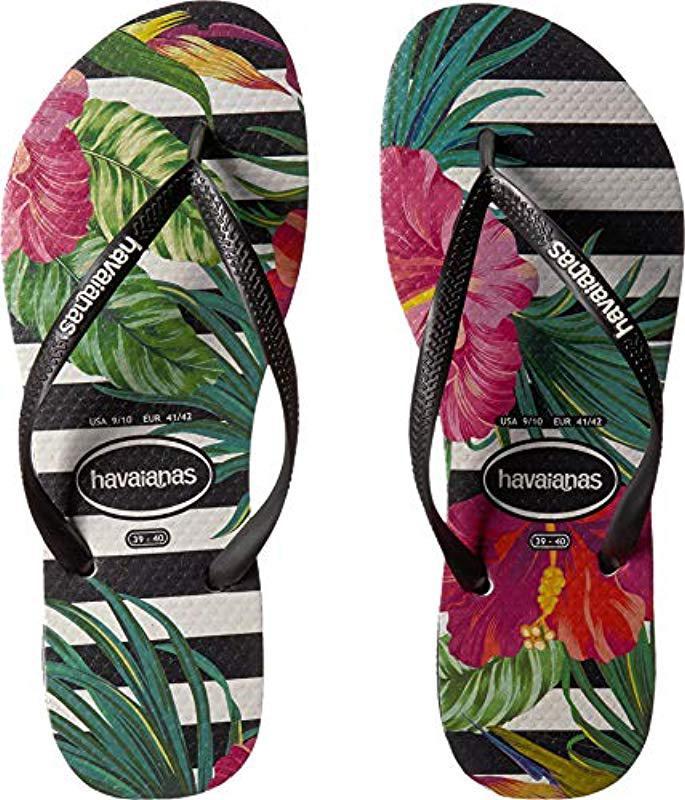 5b91ae3f9df7 Havaianas - Black Slim Tropical Floral Flip Flops - Lyst. View fullscreen