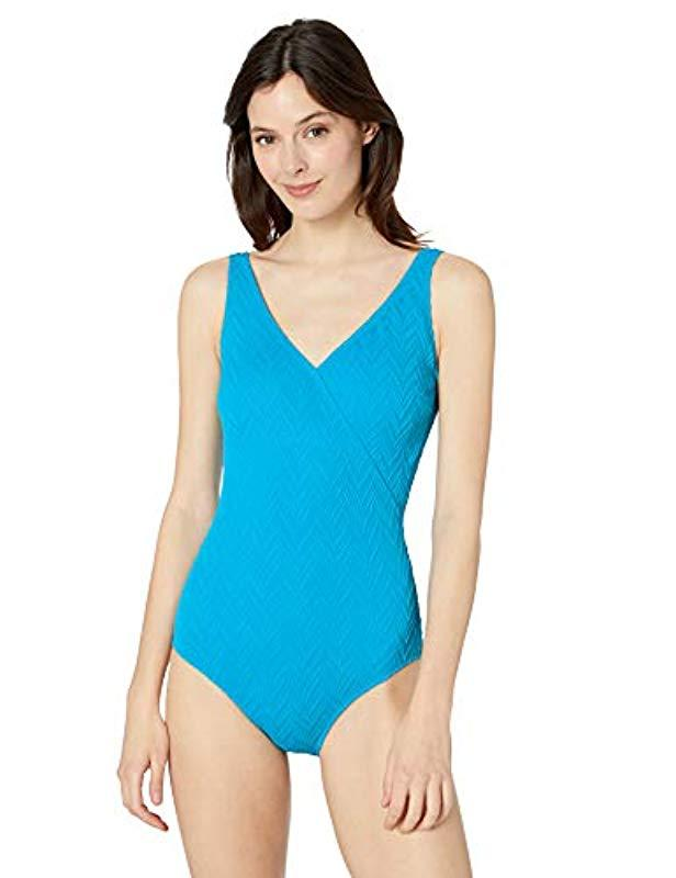 a80a179d8fc Lyst - Gottex Textured Surplice One Piece Swimsuit in Blue