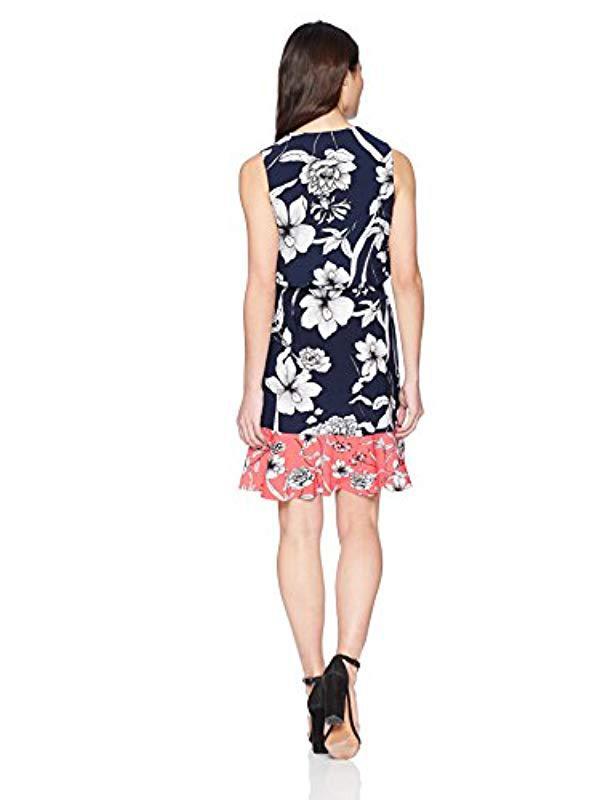 9b72a4c1b810 Lyst - Eliza J Printed Surplus Dress With Ruffle Hem (regular   Petite) in  Blue