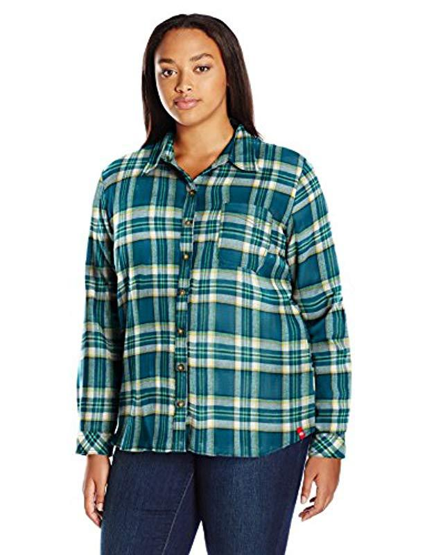 09201f826c005 Lyst - Dickies Plus-size Long-sleeve Plaid Flannel Shirt in Green ...