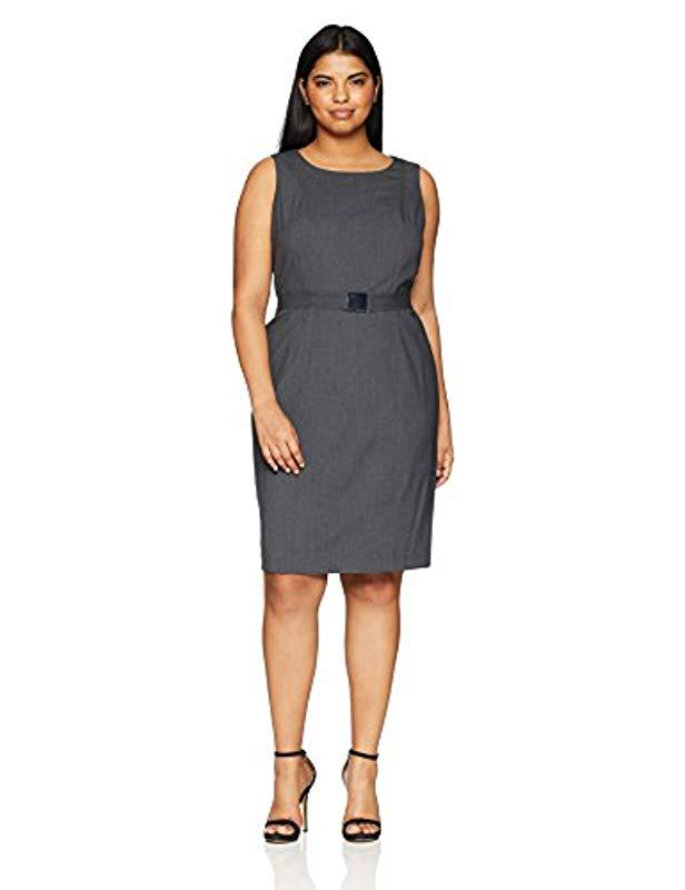 d3ed8b90 Lyst - Calvin Klein Plus Size Lux Belted Dress in Gray - Save 25%