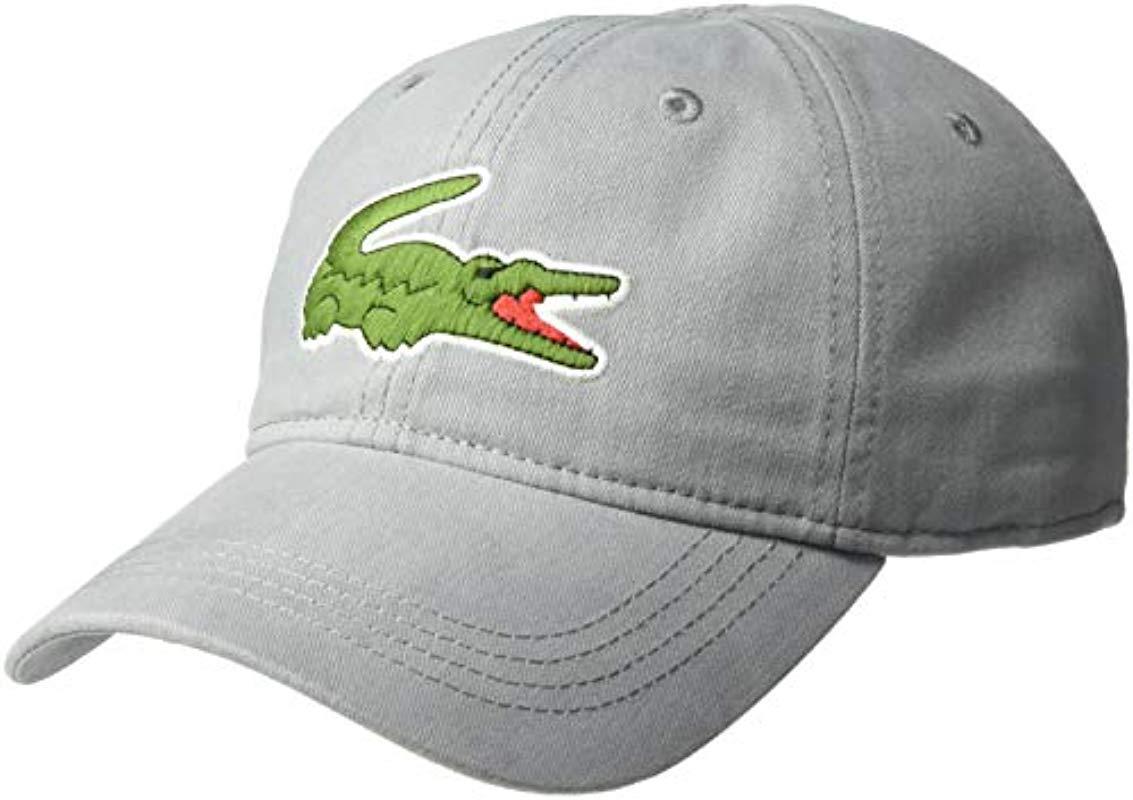 2cd199b03aa Lyst - Lacoste S Big Croc  Gabardine Cap for Men