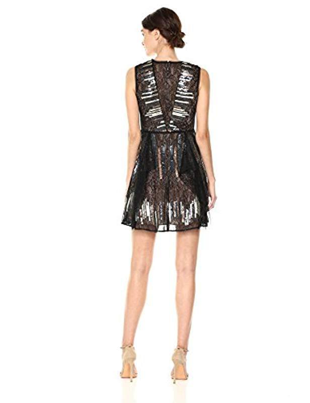 1692289f Lyst - BCBGMAXAZRIA Bcbgmax Azria Julissa Knit Metallic Sequined Cocktail  Dress in Black