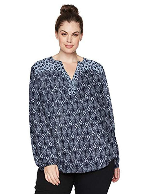 269836c3904 Lyst - Nydj Plus Size Print Mix Peasant Top in Blue - Save ...