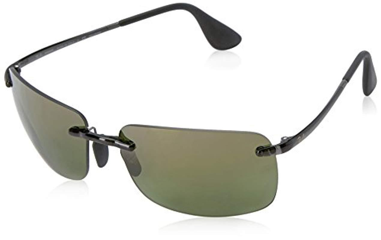 dbcfbe4e3a3 Ray-Ban Rectangle Rimless Sunglasses In Grey Green Polarised Mirror ...