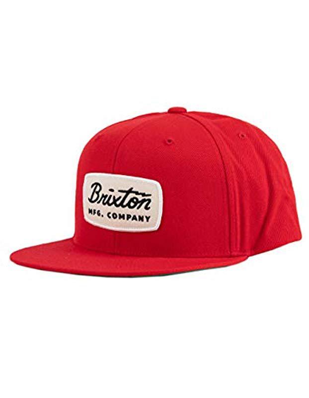 6d2340c3a0e43 Brixton - Red Jolt Medium Profile Adjustable Snapback Hat for Men - Lyst.  View fullscreen