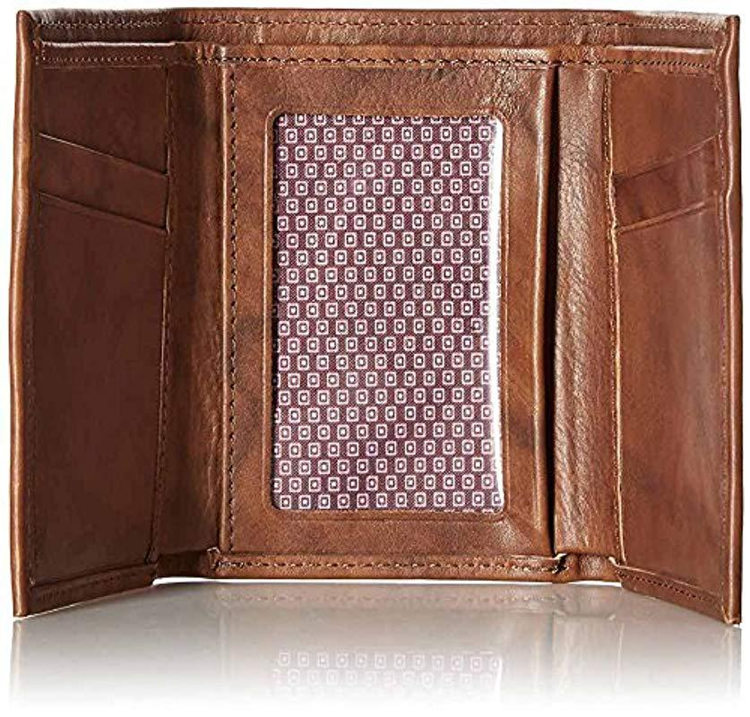 d302e822b602 Ben Sherman - Brown Manchester Full Grain Cowhide Marble Crunch Leather  Trifold Wallet With Id Window. View fullscreen