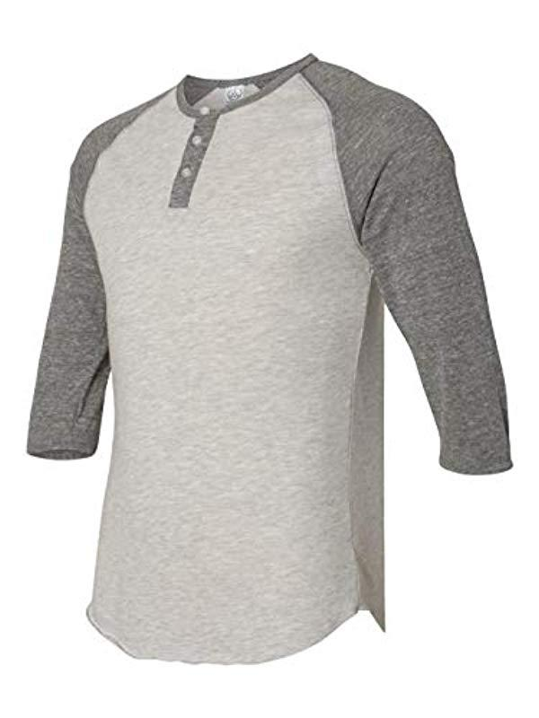 64739141 Lyst - Alternative Apparel Raglan 3/4 Sleeve Henley Shirt in Gray ...