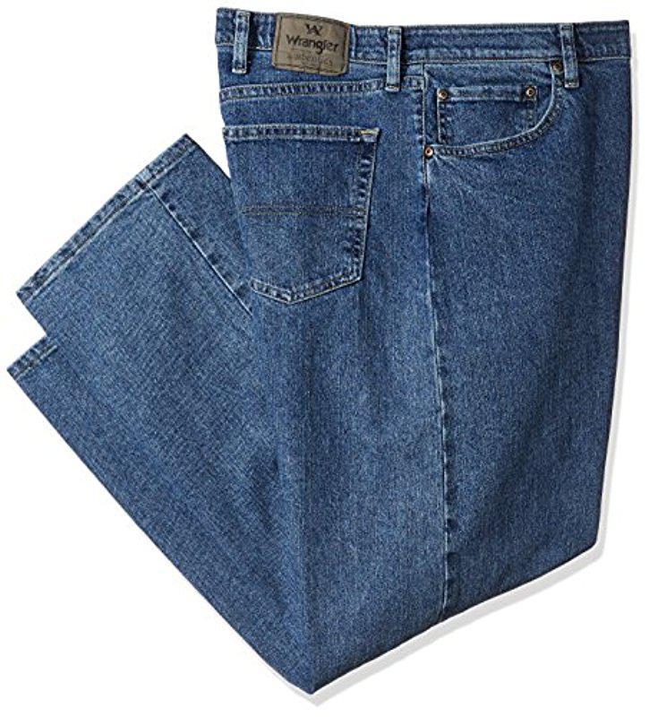 waistband relaxed flex jeans fit stretch wrangler comforter comfort