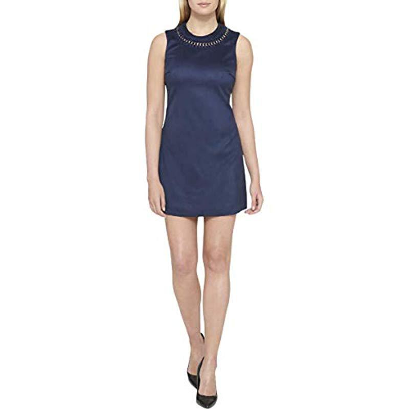 7040392d1 Lyst - Jessica Simpson Sleeveless Faux Suede Shift Dress in Blue ...