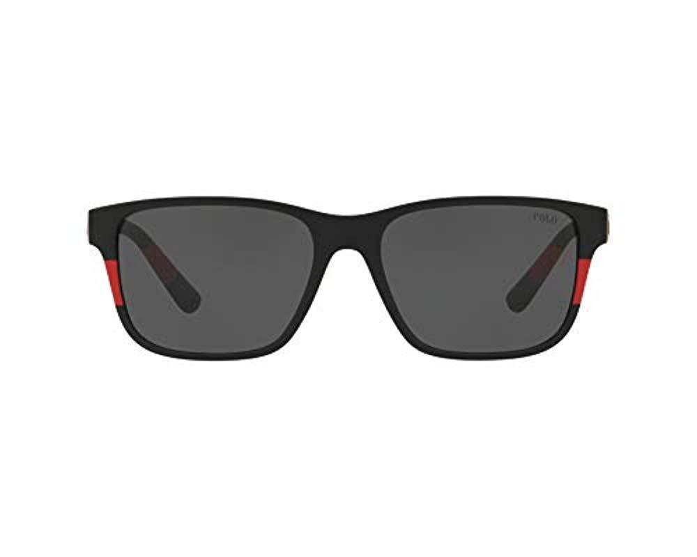 c703b4828087e Polo Ralph Lauren. Men s 0ph4137 Oval Sunglasses Matte Black red 57.0 Mm