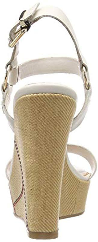 7a52b2476510 Tommy Hilfiger - White  s Elevated Leather Wedge Sandal Platform - Lyst.  View fullscreen