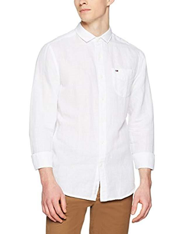 309f841e66ff60 Tommy Hilfiger Solid Linen Short Sleeve Casual Shirt in White for ...