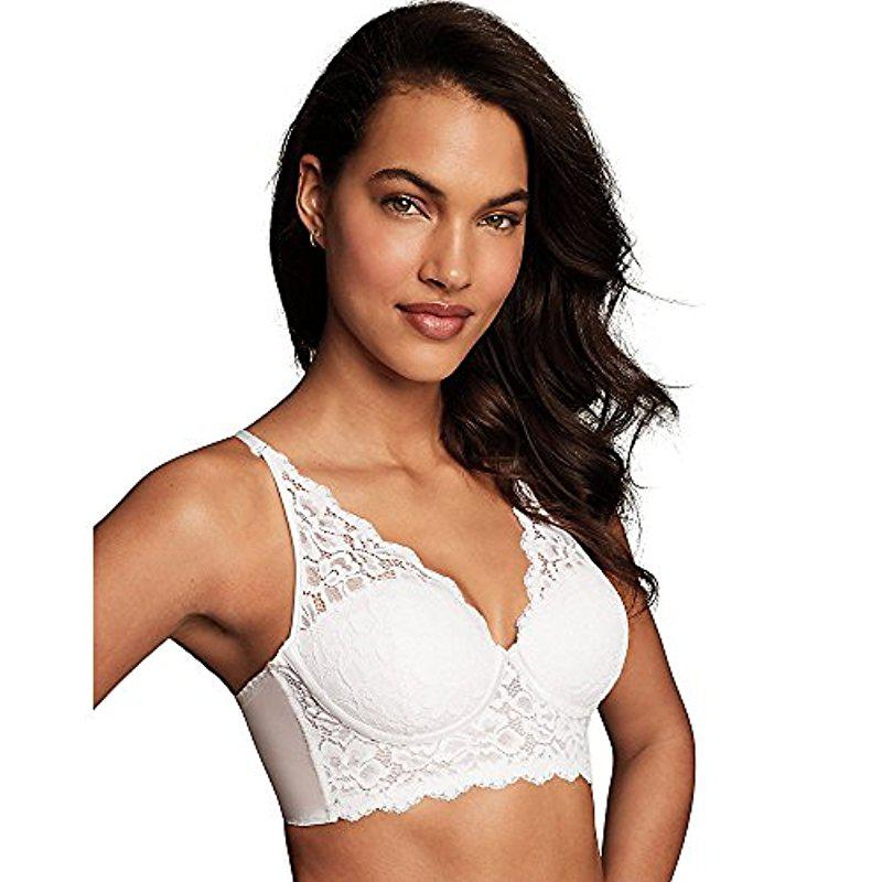 9c5773c43f12d Lyst - Maidenform Casual Comfort Halter Bralette in White - Save 10%